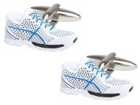 Dalaco - Blue and White Trainers, Steel Cufflinks