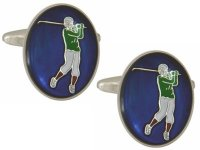 Dalaco - Stainless Steel Oval Golf Cufflinks