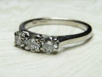 Antique Guest and Philips - White Gold and Diamond Set Three Stone Ring
