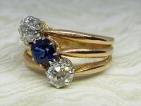 Antique Guest and Philips - Yellow Gold Diamond and Sapphire Set Three Stone Ring
