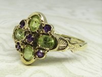 Antique Guest and Philips - Peridot Set, Yellow Gold - Cluster Ring