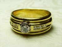 Antique Guest and Philips - 18ct Yellow Gold Round Brilliant Diamond Set Ring