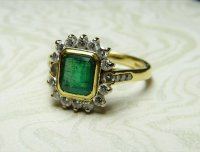 Antique Guest and Philips - 18ct Yellow and White Gold Rectangular Cut Emerald and Round Brilliant Diamonds Set, Cluster Ring