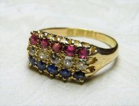 Antique Guest and Philips - Diamond Ruby Sapphire Claw Set, Yellow Gold - Three row ring
