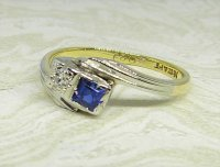 Antique Guest and Philips - Sapphire Set, Yellow Gold - Two Stone Crossover Ring