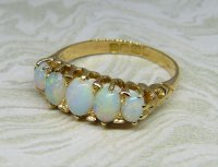 Antique Guest and Philips - Opal Set, Yellow Gold - Graduated Five Stone Ring
