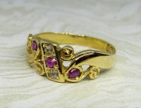 Antique Guest and Philips - Ruby Set, Yellow Gold - Five Stone Ring