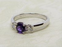 Antique Guest and Philips - Amethyst Set, White Gold - Three Stone Ring