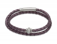 Unique - Cubic Zirconia Set, Leather - Stainless Steel - Leather Bracelet with CZ Element, Size 19cm