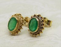 Antique Guest and Philips - Emerald Set, Yellow Gold - Single Stone Stud Earrings