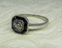Antique Guest and Philips - Diamond Set, Platinum - Cluster Ring