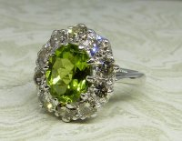 Antique Guest and Philips - White Gold and Peridot Set Cluster Ring