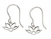 Gecko - Beginnings, Silver Drop Lotus Earrings