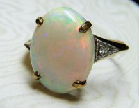 Antique Guest and Philips - 18ct Yellow and White Gold Opal Cabochon and Diamond Set Ring