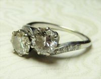 Antique Guest and Philips - Platinum Round Brilliant Diamond Set 2 stone Crossover Ring