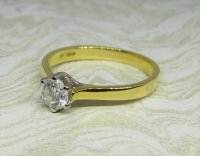 Antique Guest and Philips - Diamond Set, Yellow Gold - White Gold - Single Stone Ring