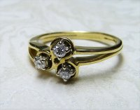 Antique Guest and Philips - Yellow Gold and Diamond claw Set Three Stone Ring