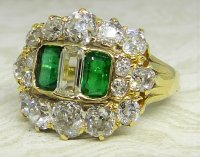 Antique Guest and Philips - Yellow Gold and Emerald - Cluster Ring