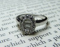 Antique Guest and Philips - 18ct White Gold Round Brilliant & Baguette Cut Diamond Set Ring