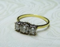 Antique Guest and Philips - 18ct Yellow and White Gold Round Brilliant Diamond Set 3 Stone Ring