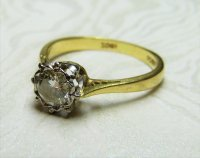 Antique Guest and Philips - 18ct Yellow and White Gold Round Brilliant Diamond Set Solitaire Ring