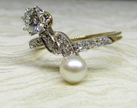 Antique Guest and Philips - Platinum and Yellow Gold Diamond and Pearl Set Two Stone Ring