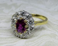 Antique Guest and Philips - Ruby and Diamond Set, Yellow Gold - White Gold - Cluster Ring