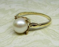 Antique Guest and Philips - Yellow Gold and Pearl Set Single Stone Ring