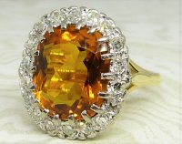 Antique Guest and Philips - 9.00ctCitrine Set, Yellow Gold - White Gold - Oval Cluster Ring