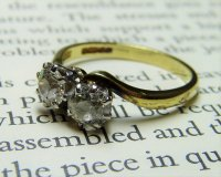 Antique Guest and Philips - 18ct Yellow and White Gold Round Brilliant Diamond Set Crossover Ring
