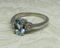 Antique Guest and Philips - White Gold and Aquamarine Set Three Stone Ring