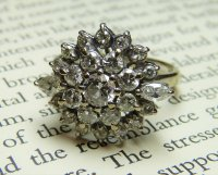 Antique Guest and Philips -18ct White Gold Round Brilliant Cut Diamond Set Cluster Ring