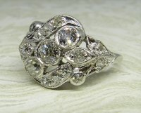 Antique Guest and Philips - Platinum and Diamond Set Cluster Ring