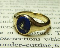 Antique Guest and Philips - 9ct Yellow Gold Oval Lapis Lazuli Set Signet Ring