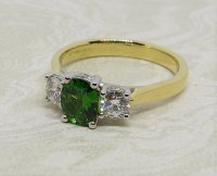 Antique Guest and Philips - Tsavorite Set, Yellow Gold - Platinum - Three Stone Ring