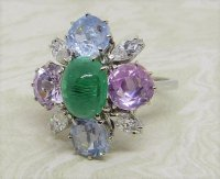 Antique Guest and Philips - Emerald Set, White Gold - Cluster Ring