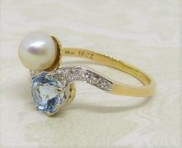 Antique Guest and Philips - Aquamarine Set, Yellow Gold - Platinum - Two Stone Ring