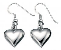 Gecko - Beginnings, Small Silver Puffed Heart Drop Earrings