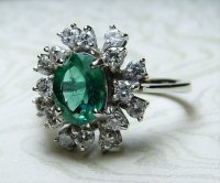 Antique Guest and Philips - 18ct White Gold Oval Faceted Emerald and Diamond Ring
