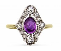 Antique Guest and Philips - Pink Sapphire 0.75 Diamond 0.20 Set, White Gold - Yellow Gold - 18ct Oval Cluster