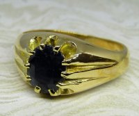 Antique Guest and Philips - Sapphire Set, Yellow Gold - Single Stone Ring