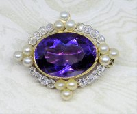 Antique Guest and Philips - Yellow Gold, Platinum and Amethyst - Oval Brooch