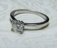 Antique Guest and Philips - 18ct White Gold Cushion Cut Diamond Set Solitaire Ring
