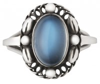 Georg Jensen - Moonlight, Moonstone Set, Sterling Silver - Ring, Size 56