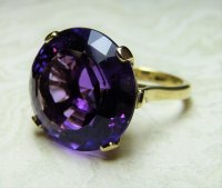 Antique Guest and Philips - Amethyst four claw Set, Yellow Gold - Single Stone Ring