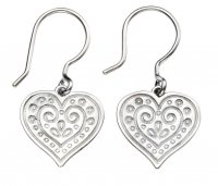 Gecko - Beginnings, Silver Engraved Heart Drop Earrings