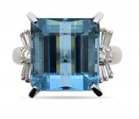 Antique Guest and Philips - Aqua 12.13 Set, Platinum - - Single Stone