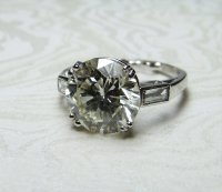 Antique Guest and Philips - Platinum and Round Brilliant Diamond and Baguette Cut Solitaire Ring