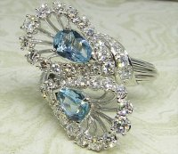 Antique Guest and Philips - Aquamarine Set, White Gold - Cluster Ring