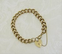 Antique Guest and Philips - Yellow Gold Solid Curb Link Bracelet